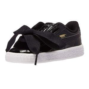 Puma Girls Basket Heart Patent Shoes